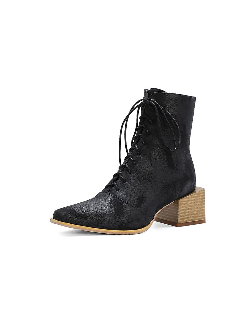 Colorblock Block Heel Square-toe Lace-up Ankle Boots