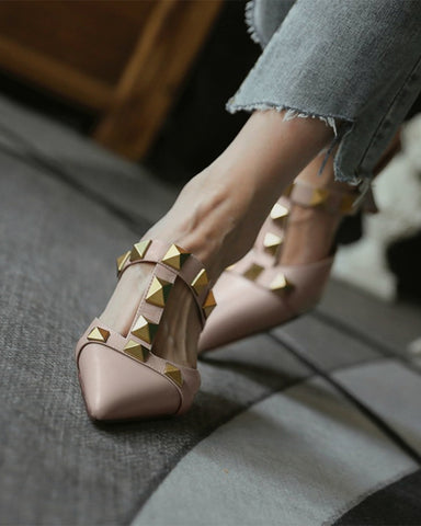 Solid Studded Pointed-toe High Heel Sandals