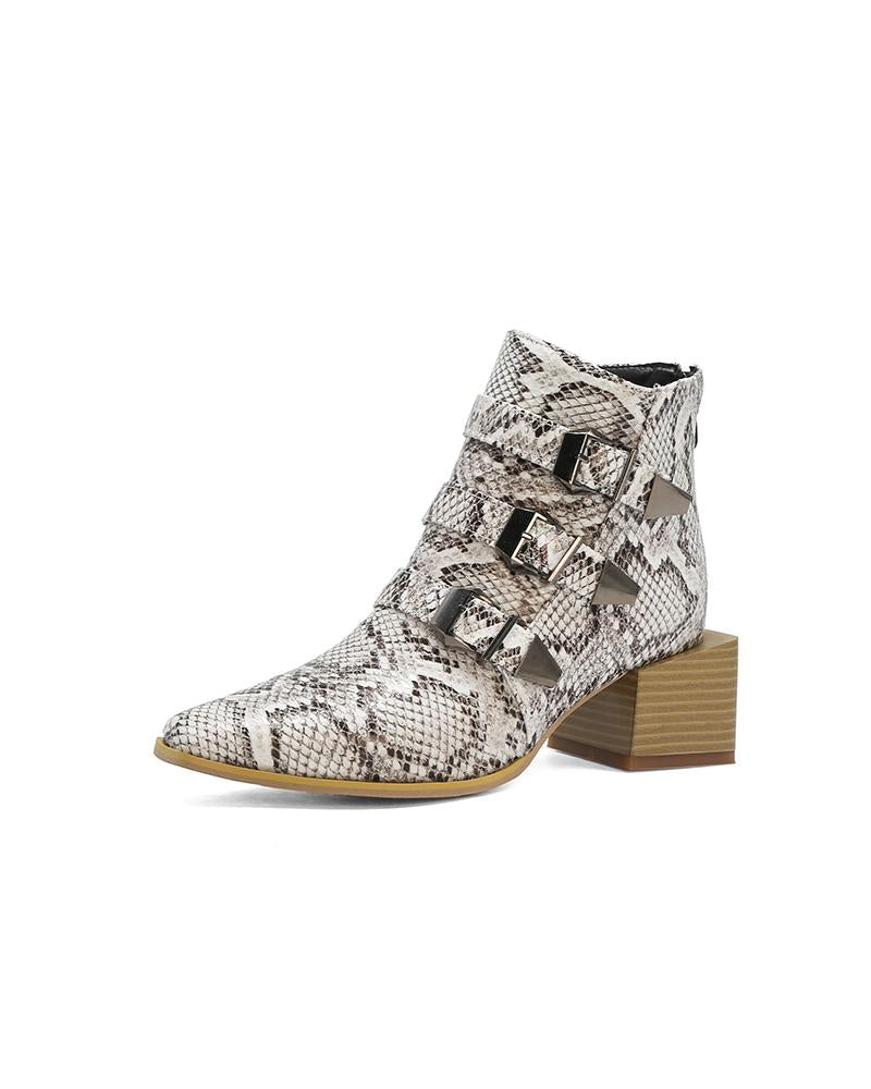 Pointed-toe Snakeskin Printing Martin Boots