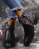 Floral Pointed-toe Splicing Ankle Boots