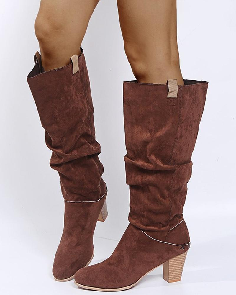 Solid Color Pointed-toe High Boots