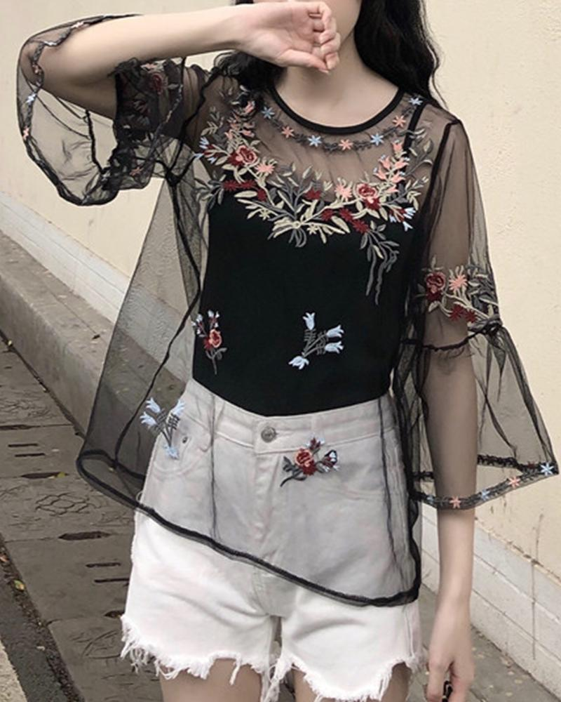 Round Neck Embroidered Floral Mesh Top