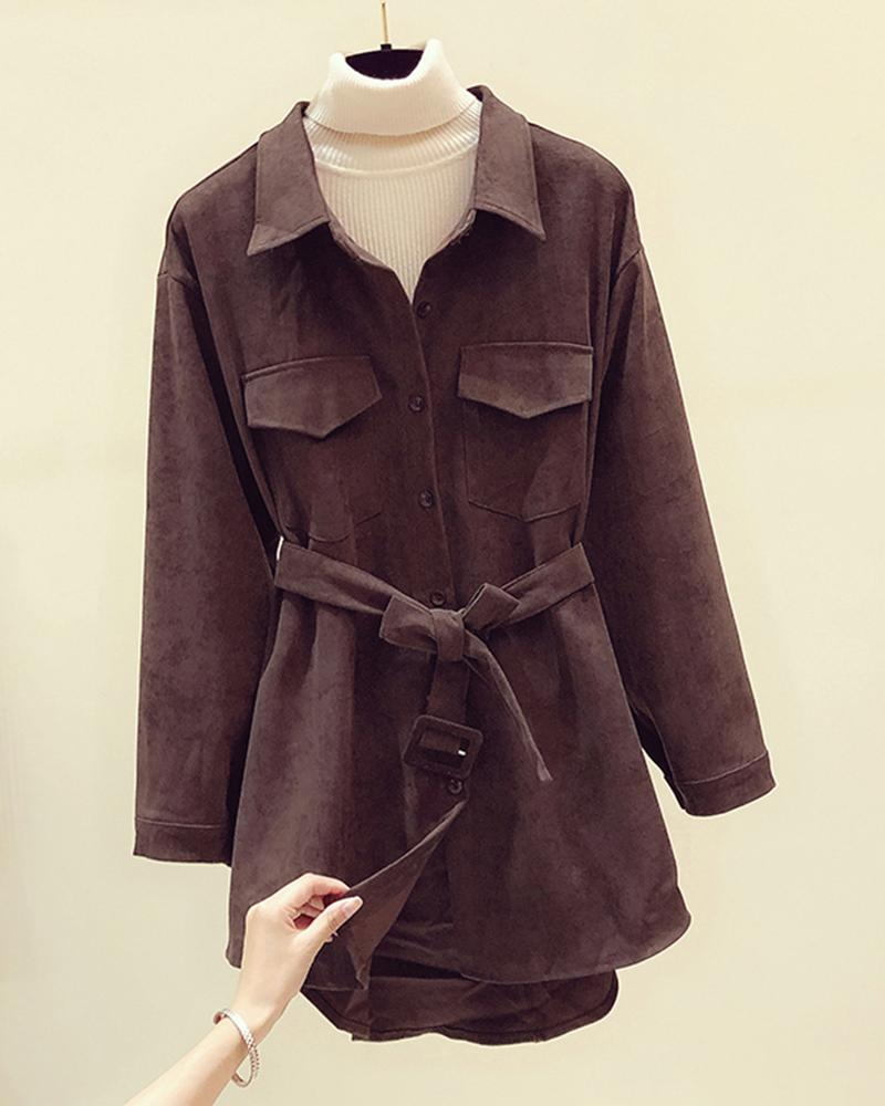 Solid Long Sleeve Lace-up Waist Corduroy Shirt Dress
