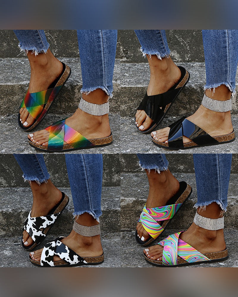 Multicolor Print Cross Bandage Upper Flat Platform Sandals
