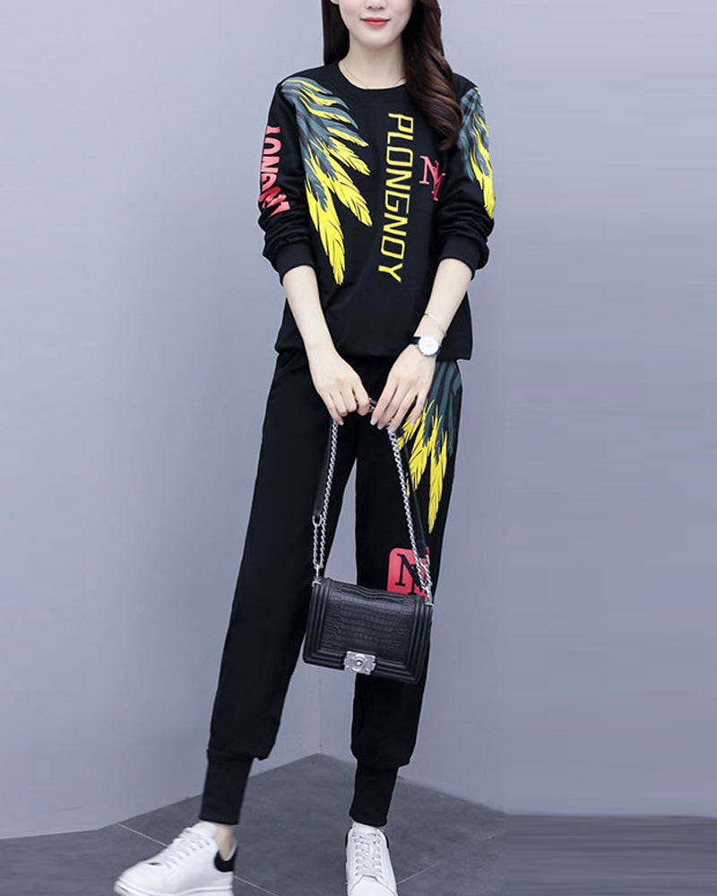 Printing Long Sleeve Loose Suit Sets