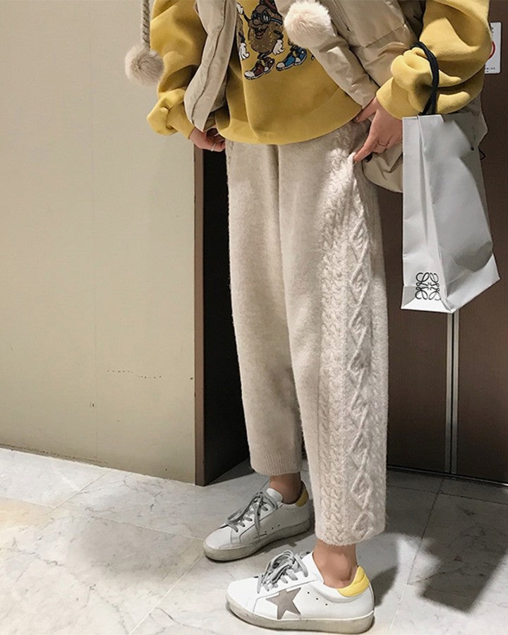 Solid Color Cable Knitting Straight Baggy Pants