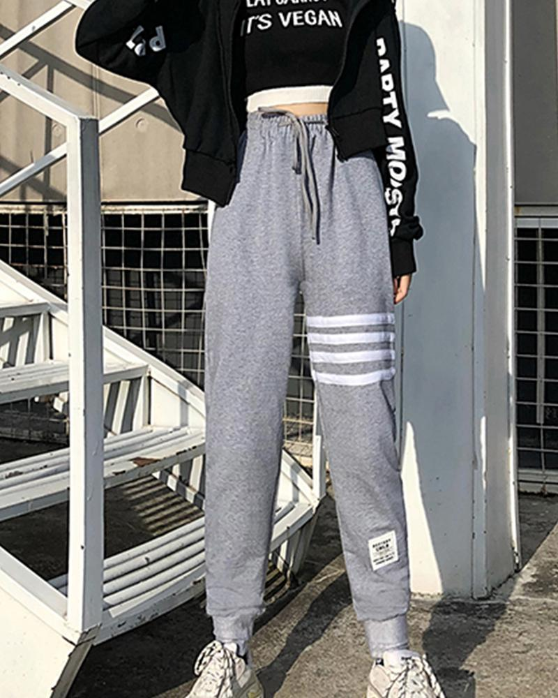 Contrast Stripes Loose Jogger Pants