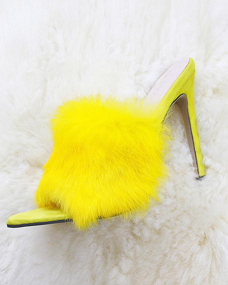 Pointed Toe Feather Decoration High Heels Sandals