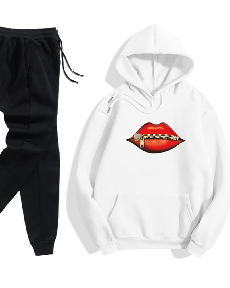 Lips Print Long Sleeve Loose Hoodies Sweatshirts Suit Sets