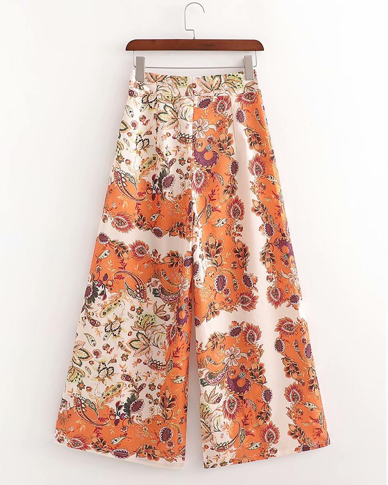 Printing Loose Wide Leg Pants