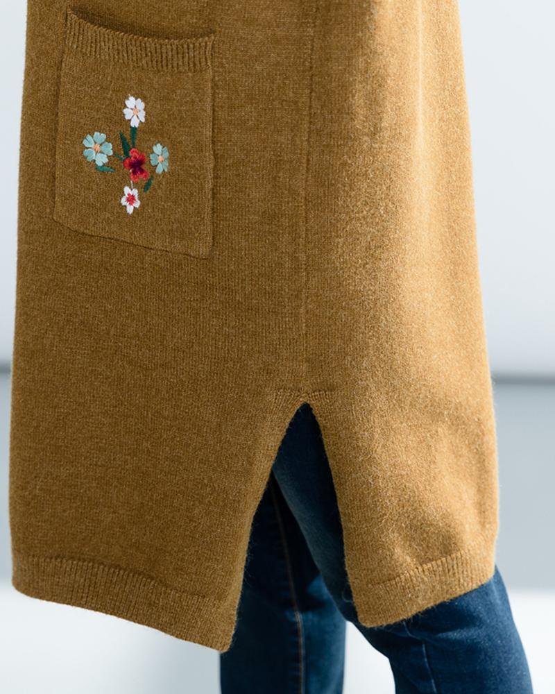 Floral Embroidery Long Sleeve Long Cardigans