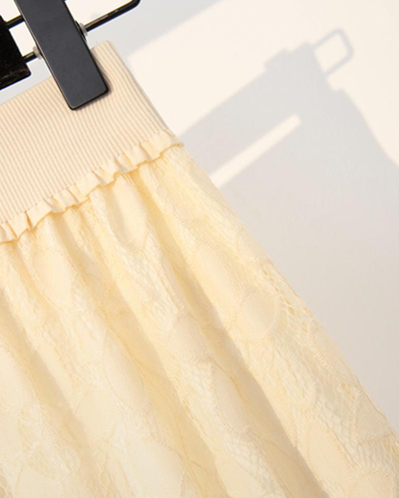 Solid Color Splicing Lace Straight Wrap Midi Skirt