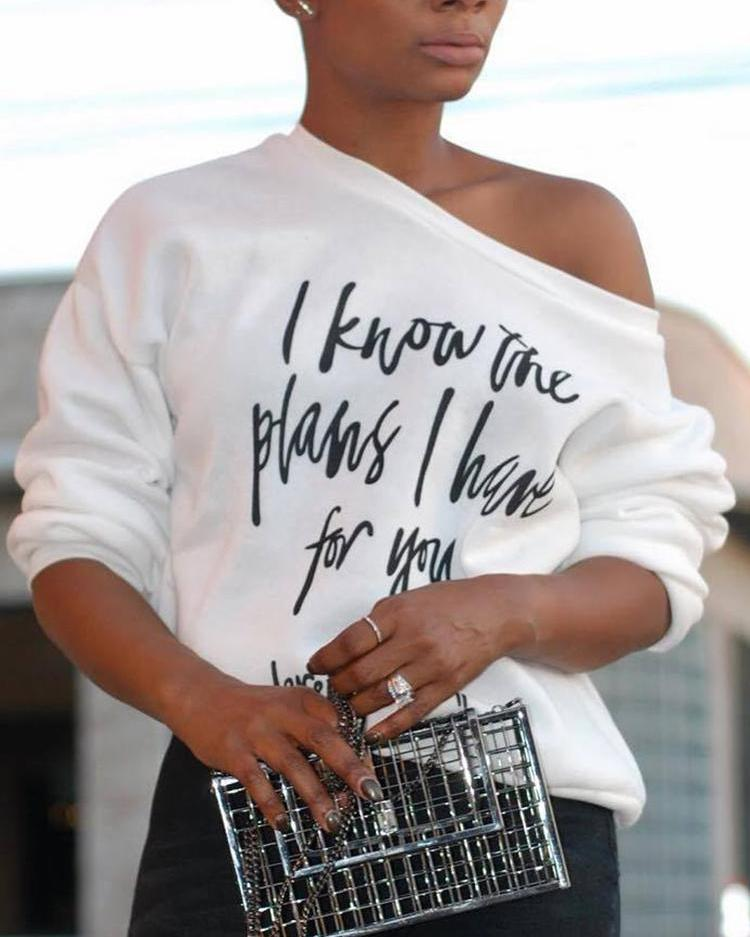 Skew Neck Letter Print Long Sleeve T-shirt