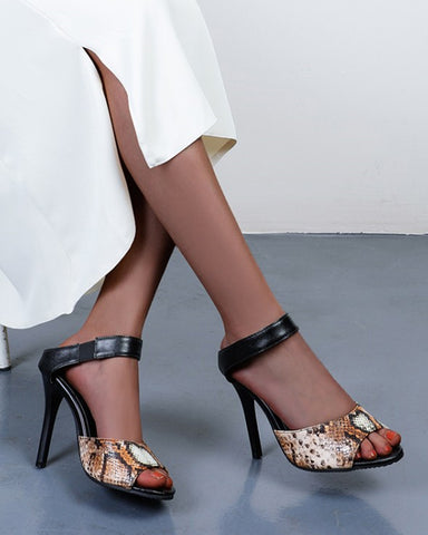 Solid Open-toe High Heel Sandals