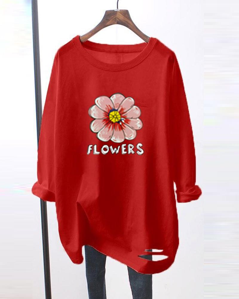 Flower Printing Long Sleeve Ripped T-shirts