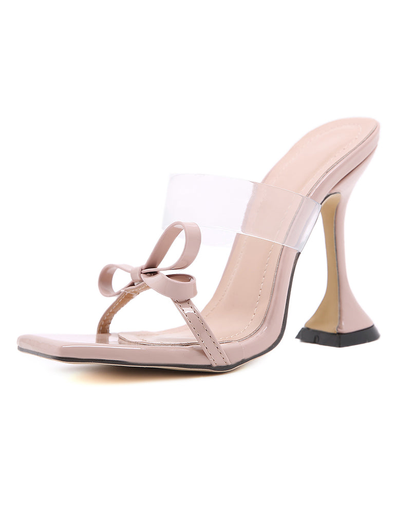 Solid Bowknot Upper PVC Bandage High Heel Sandals