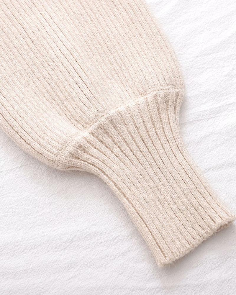 High Neck Solid Bloomer Sleeve Sweater