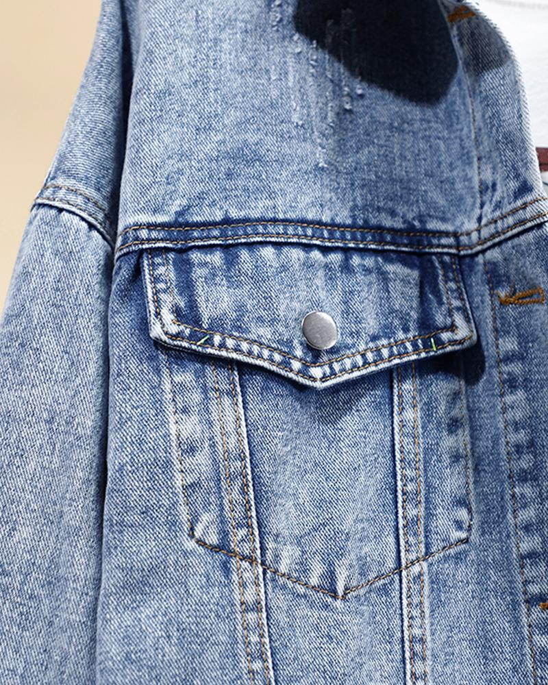 Daisy Embroidery Long Sleeve Fitting Denim Jackets
