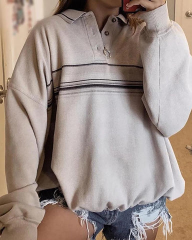 Button Neck Striped Loose Sweatshirt