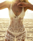 Lace Hollow Out Crochet Swimsuit Beach Dress