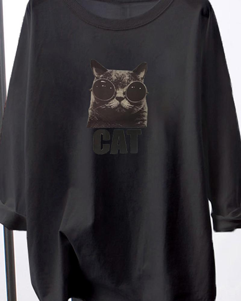 Casual Cat Print Long Sleeve T-shirt