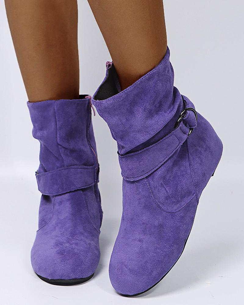 Solid Color Round-toe Slope Heel Buckle Ankle Boots
