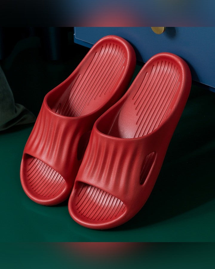Solid Open-toe Platform Slippers