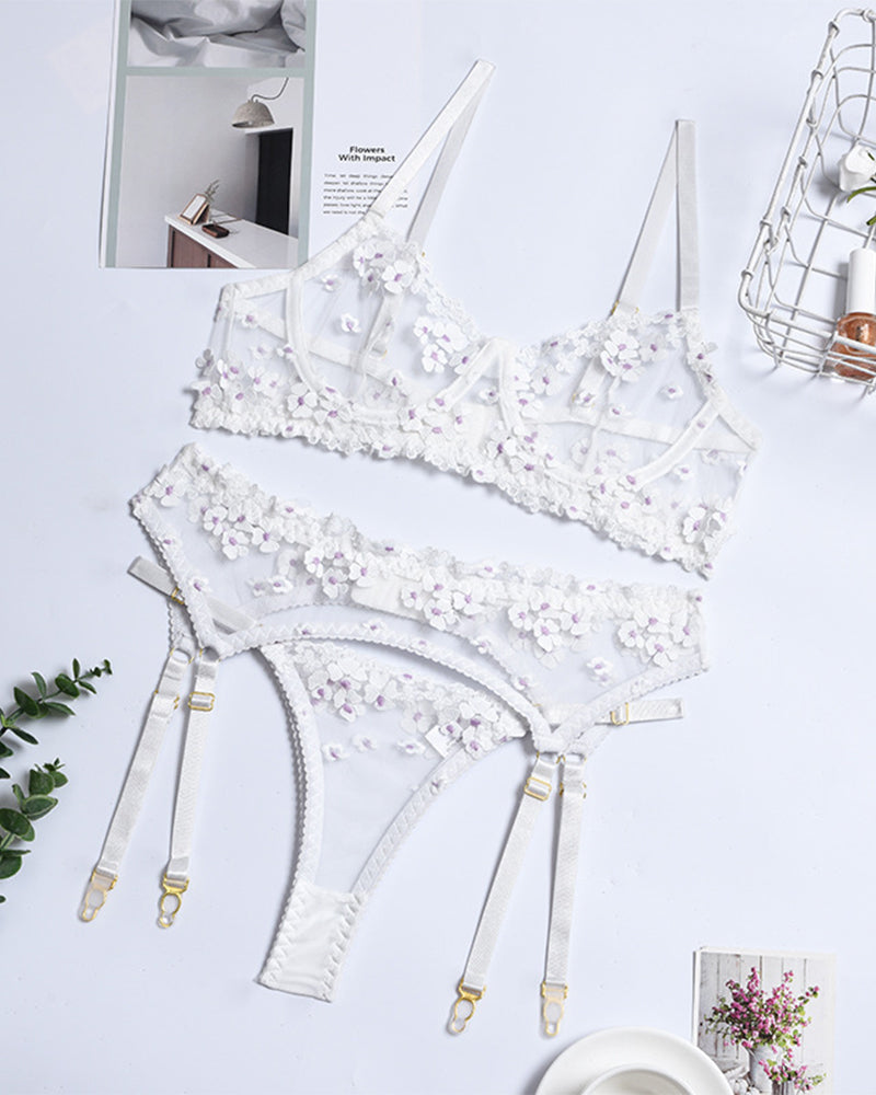 Floral Embroidery Strap Bra With Waist Cincher And Panties Sexy Sets