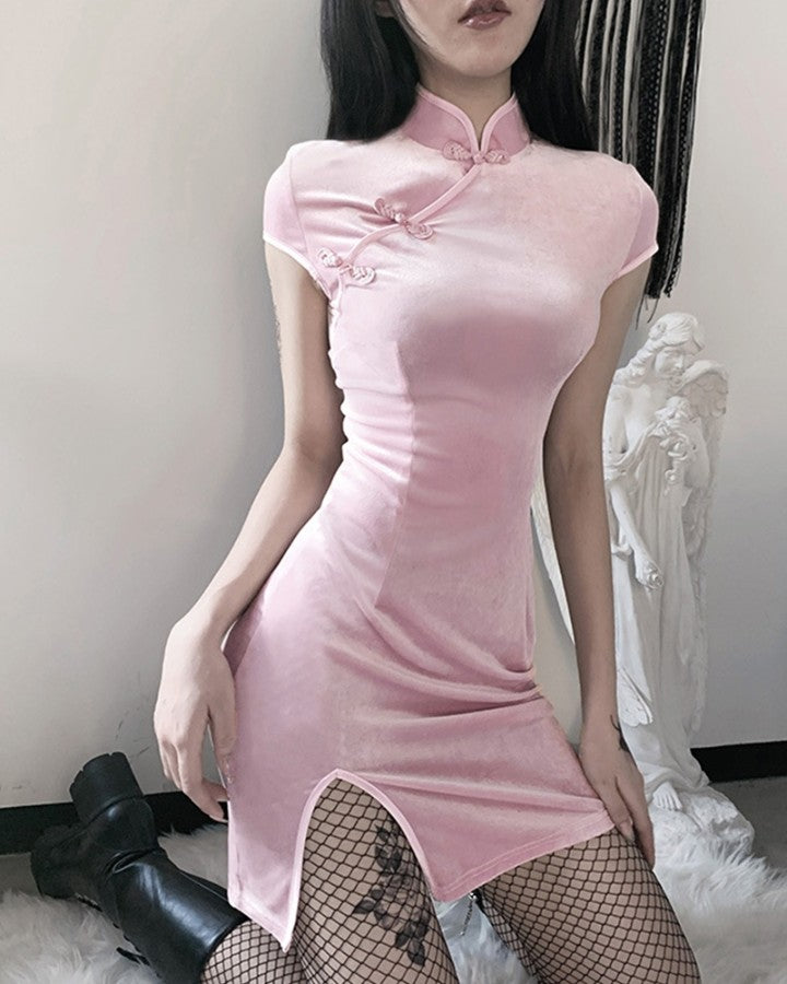 Color Border Short Sleeve Slit Mini Dress