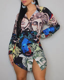 Figure Print Long Sleeve Buttoned Shirt