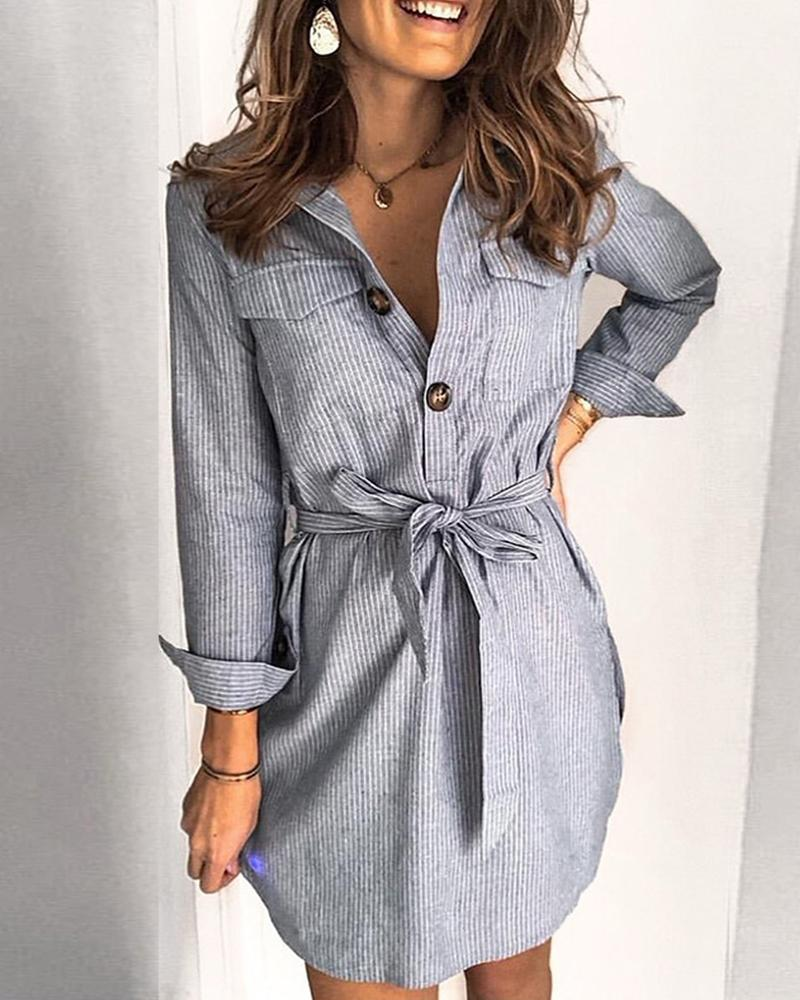 Striped Lace-up Skinny Waist Long Sleeve Polo Mini Dress