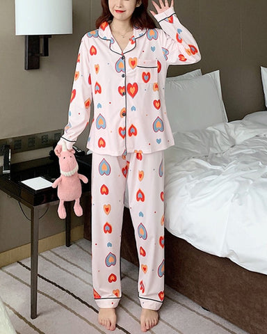 Multicolor Heart Print Long Sleeve Pajamas Sets