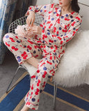 Cherry Print Two-Piece Pajama Set