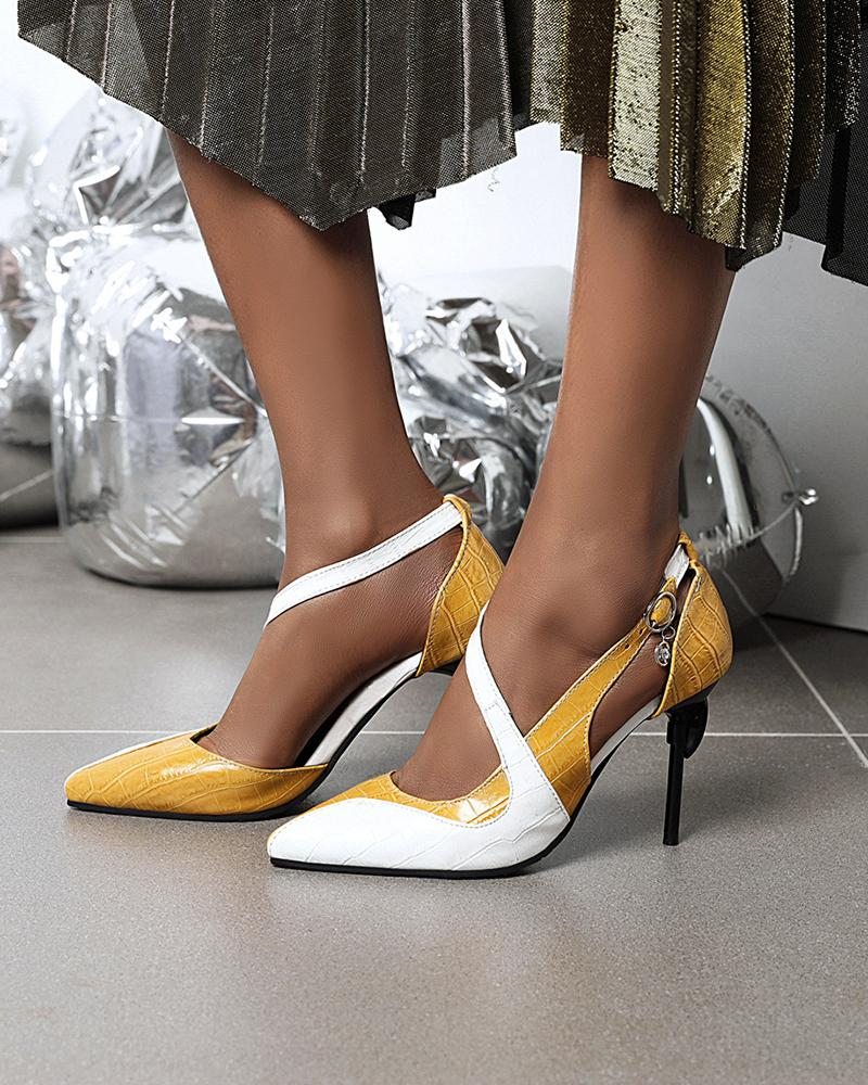 Color Block Pointed-toe High Heels
