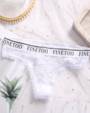 Solid Letter Band Lace T-string Panties