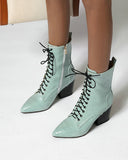 Pointed-toe Snakeskin Print Lace-up High Heel Boots