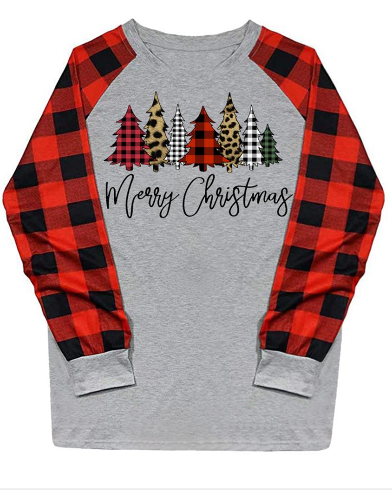 Christmas Trees And Letter Printing Long Sleeve Blouse