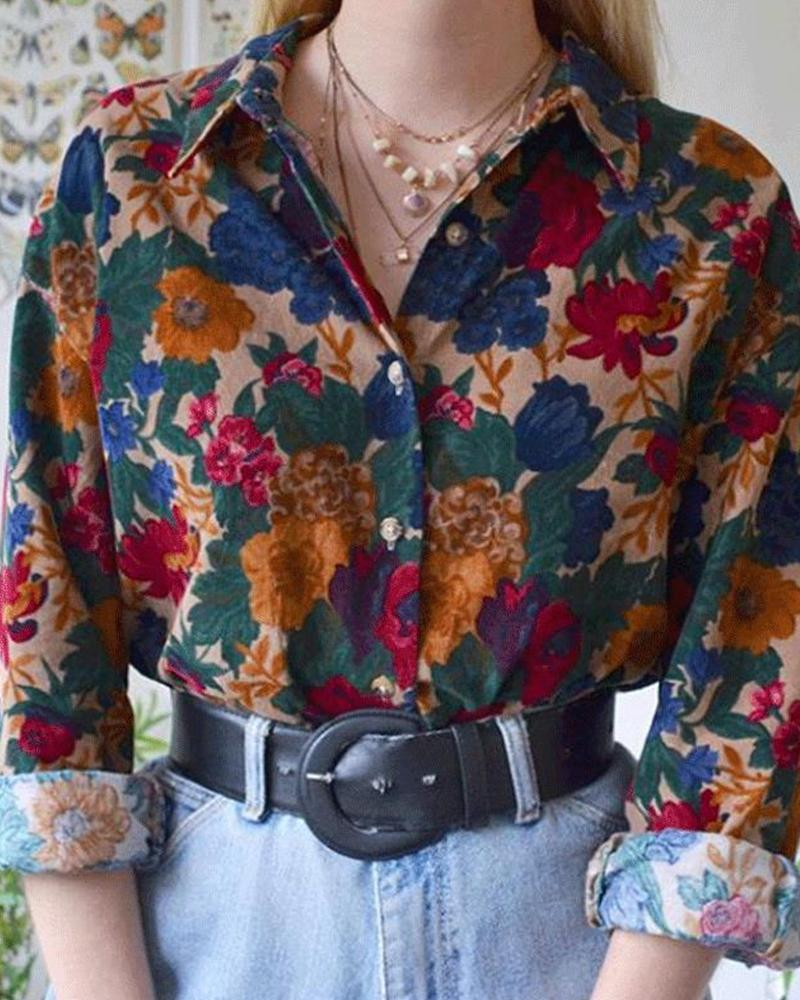 Multicolor Floral Printing Commuting Long Sleeve Shirt