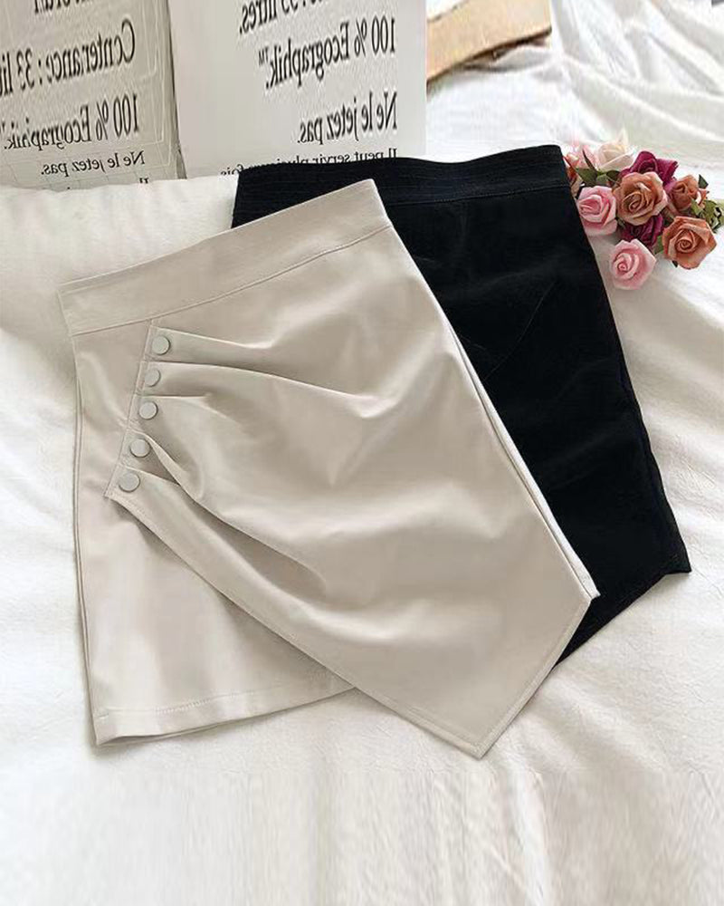 Solid Color Buttons Wrap Mini Skirt