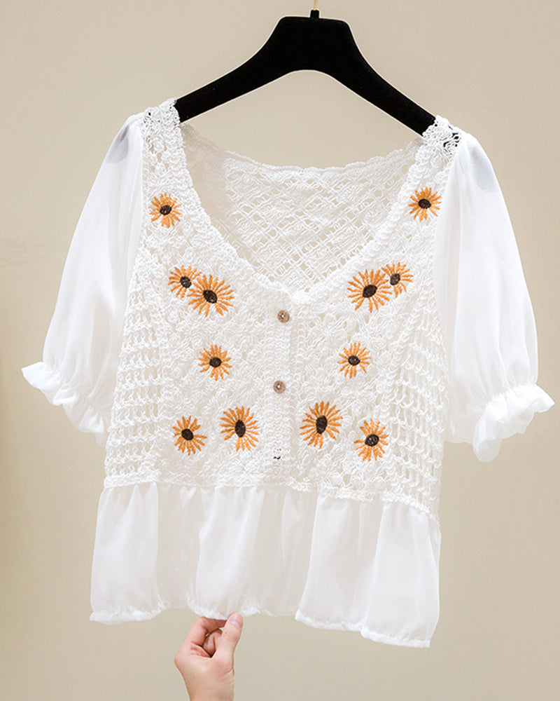 Daisy Embroidery Short Sleeve Cut-out Blouse