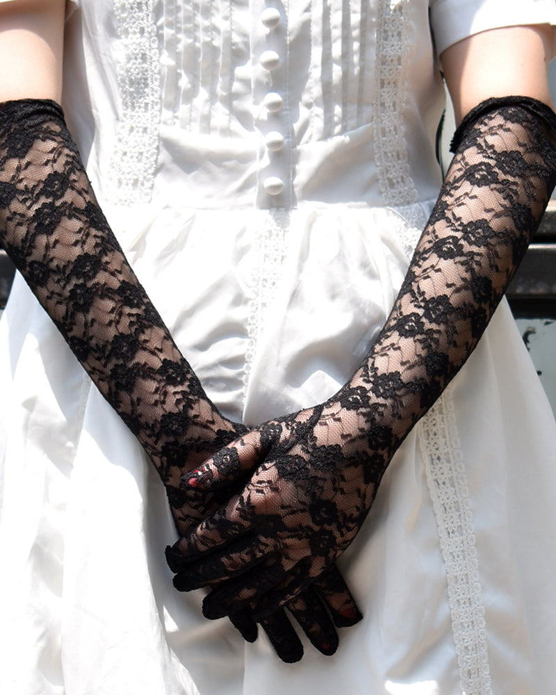 Sexy Floral Lace Length Gloves