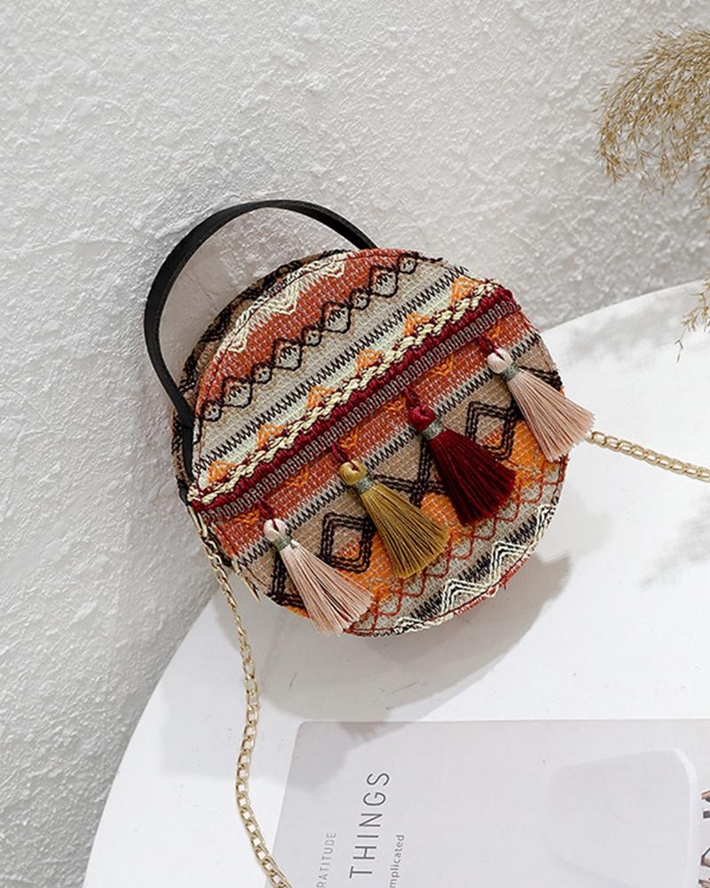 Retro Patterns Round Tassel Shoulder Bags