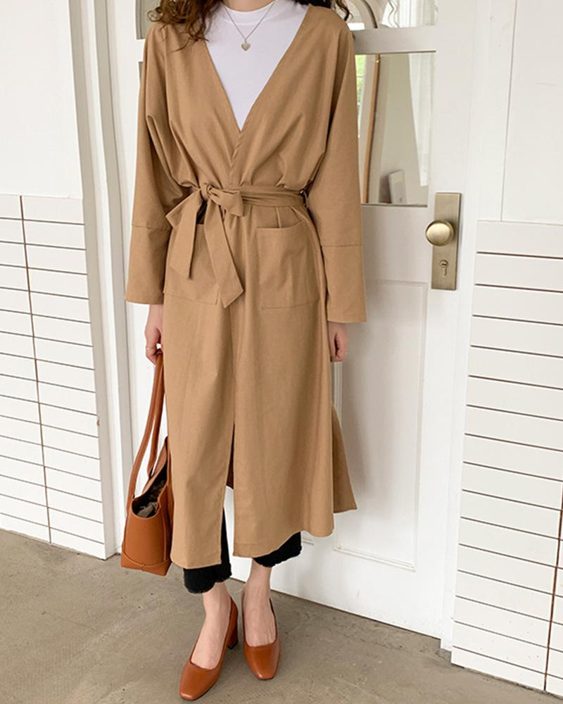 Fashionable Solid Long Sleeve Coat