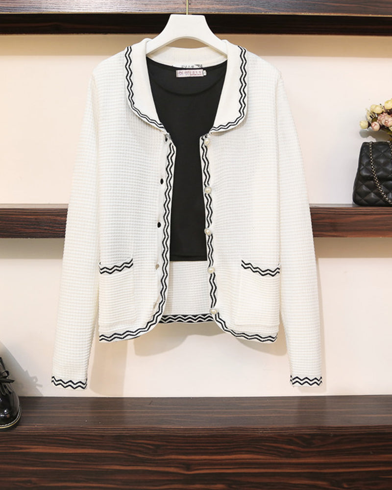 Colorblock Color Border Long Sleeve Knitwear Coats