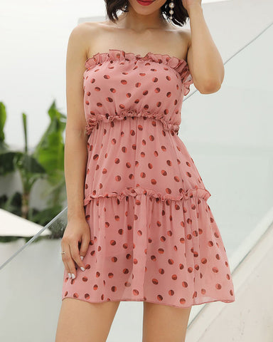 Polka Dot Off Shoulder Sleeveless Tiered Mini Dress