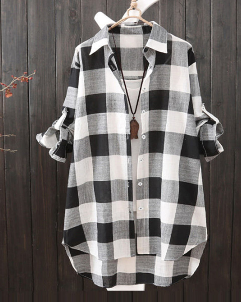 Gingham Button Down Tunic Shirt