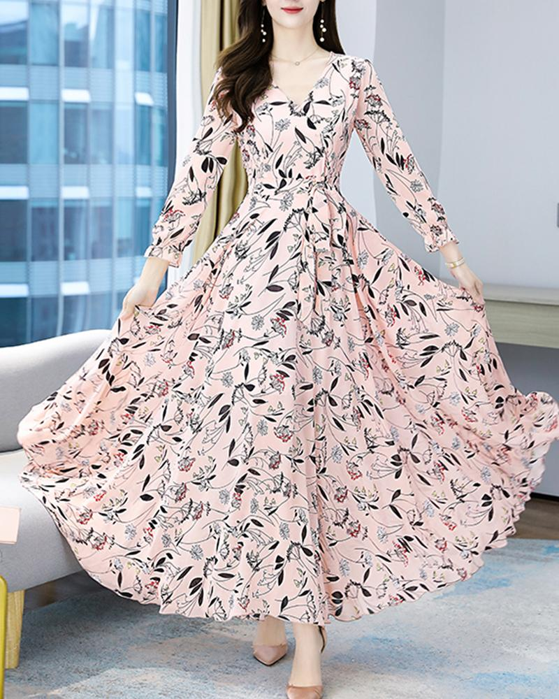 Floral Long Sleeve Skinny Waist Chiffon Dress