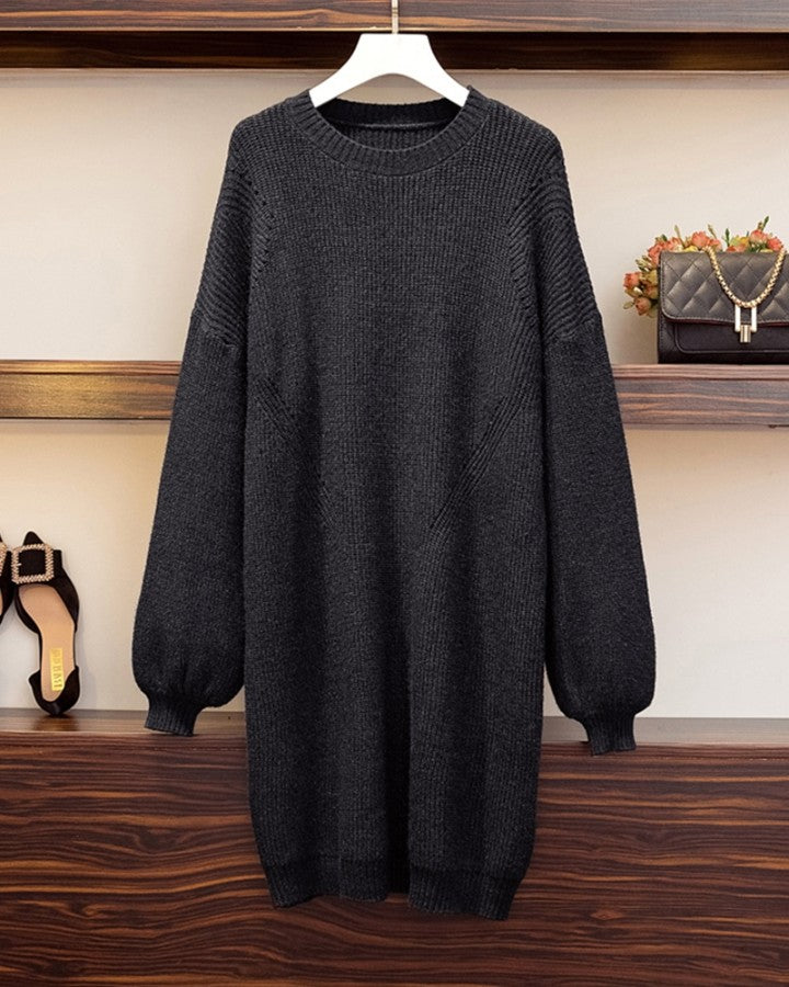 Solid Long Sleeve Loose Knitwear Doll Dress