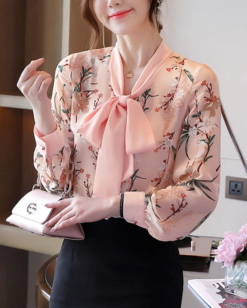 Flower Printing Long Sleeve Shirt