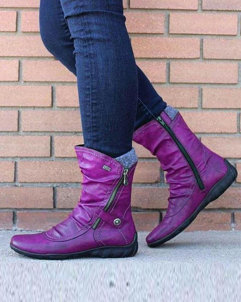 Solid Color Round-toe Mid Boots